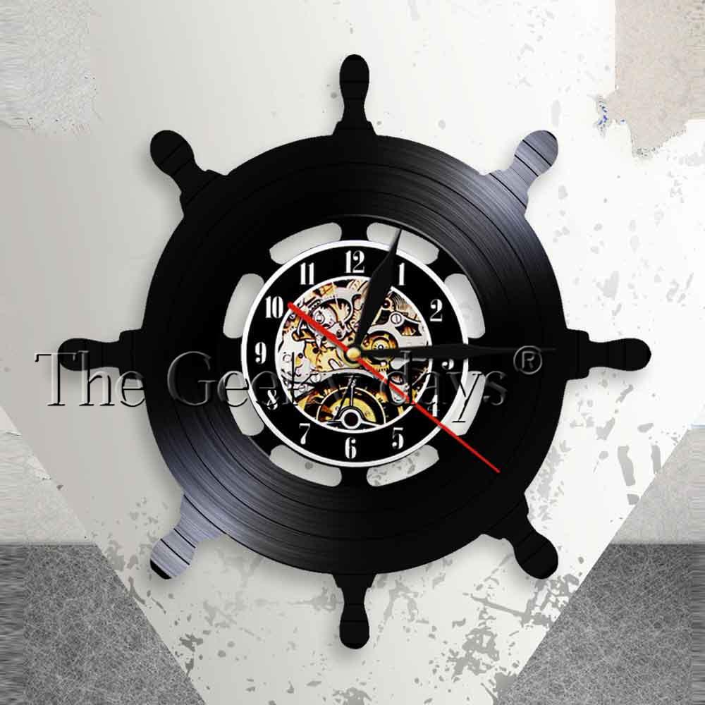 [해외]선장 선박 바퀴 벽 아트 선박 조종 거실 벽 장식 비닐 레코드 벽 시계 여행 바다 항해 마리너 선원 선물/Captain Ship Wheel Wall Art Ship Steering Living Room Wall Decor Vinyl Record Wall Cloc
