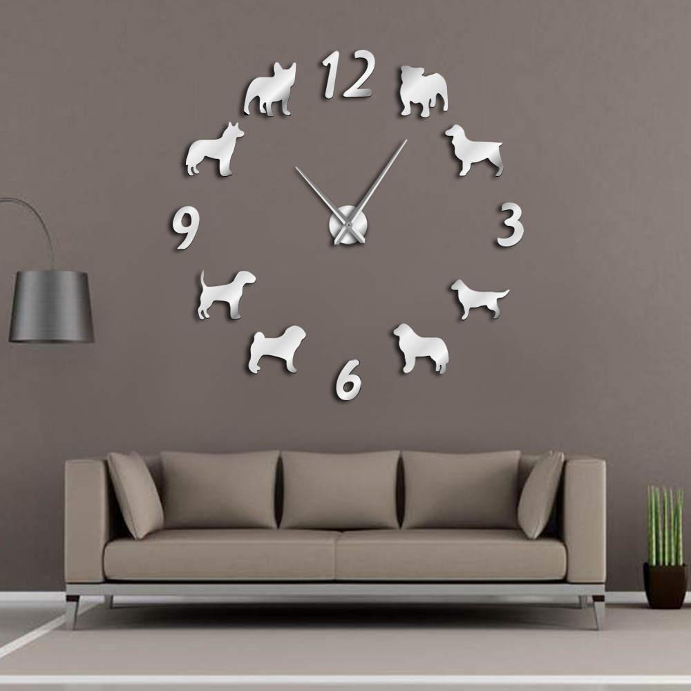 [해외]다른 개 유형 큰 벽시 개 개 애인 애완 동물 소유자 홈 장식 거대한 벽 시계 현대 디자인 DIY 강아지 벽시계/Different Dog Breeds Large Wall Clock Dog Lovers Pet Owners Home Decor Giant Wall C