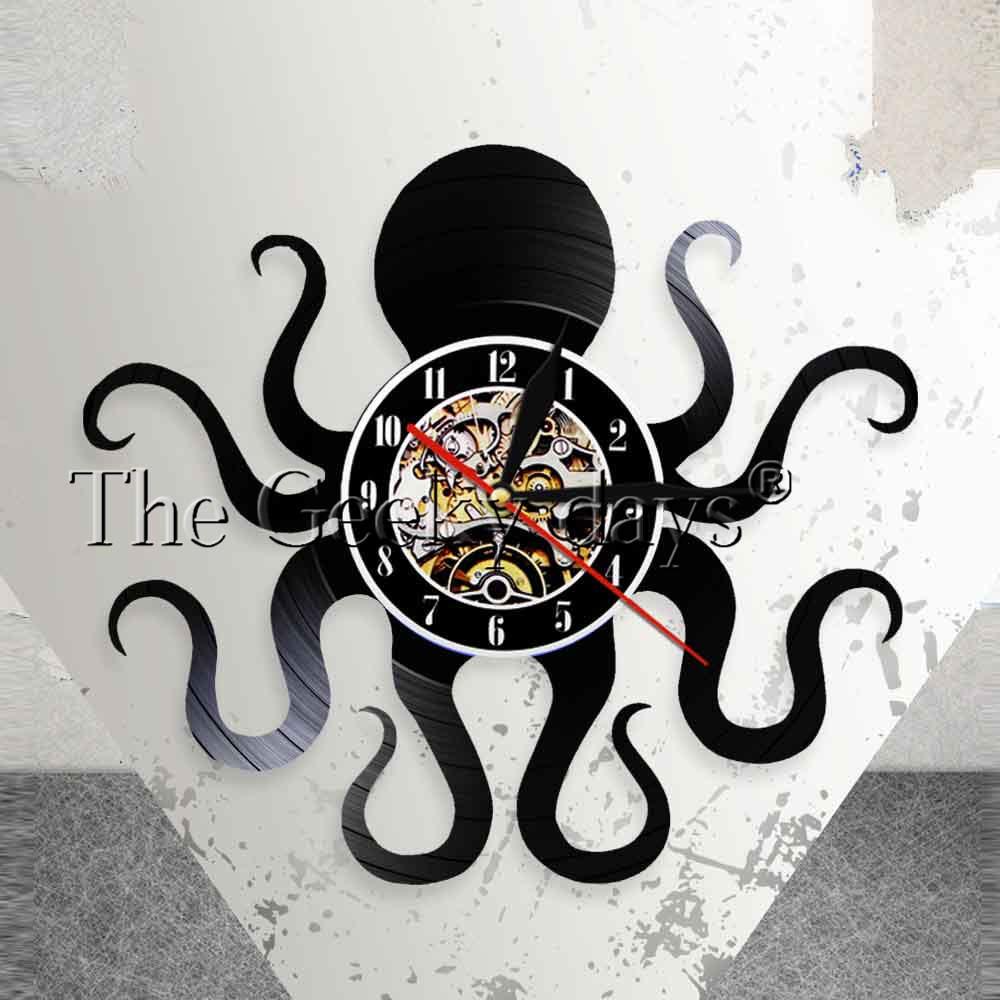 [해외]낙지 해상 벽 예술 벽시계 Kraken Octopus 비닐 기록 벽시계 깊은 바다 해군 홈 인테리어 현대 시계 벽시계/Octopus Nautical Wall Art Wall Clock Kraken Octopus Vinyl Record Wall Clock Deep