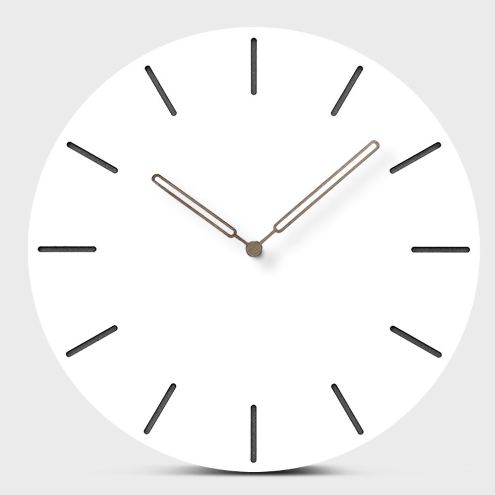 [해외]현대 유럽의 음소거 나무 벽 시계 간단한 화이트 MDF 매달려 라운드 우드 시계 크리 에이 티브 석영 키트 거실 홈 인테리어/Modern European Mute Wooden Wall Clock Simple White MDF Hanging Round Wood W