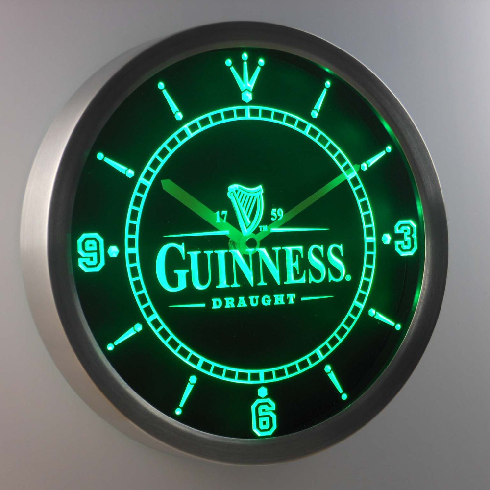 [해외]nc0090 기네스 빈티지 로고 맥주 바 네온 사인 LED 벽시계/nc0090 Guinness Vintage Logo Beer Bar Neon Sign LED Wall Clock
