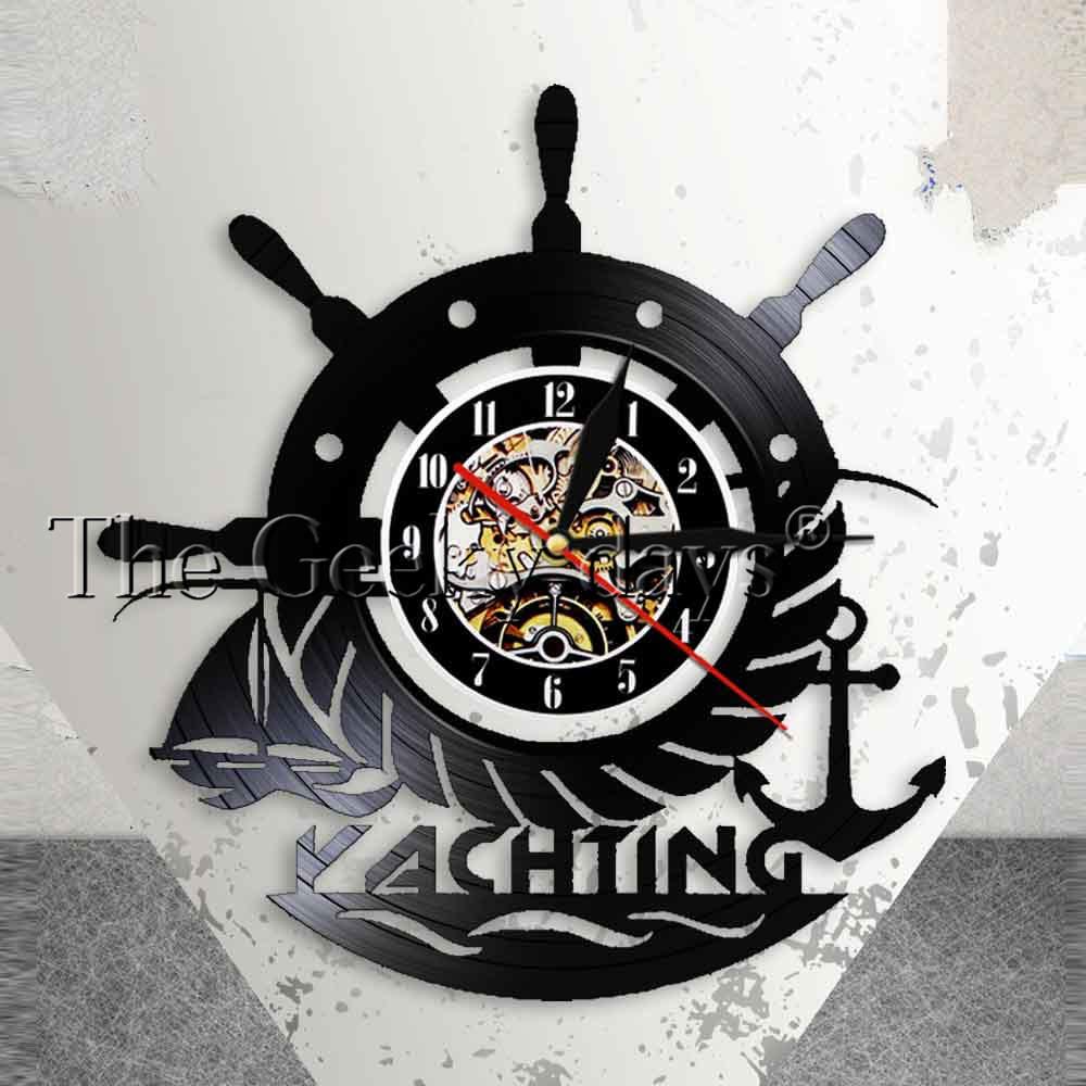 [해외]요트 선박 휠 앵커 벽 예술 해상 벽 장식 세일링 비닐 기록 벽시계 바다 장식 선원 벽시계/Yachting Ship Wheel Anchor Wall Art Nautical Wall Decor Sailing Vinyl Record Wall Clock Seascap