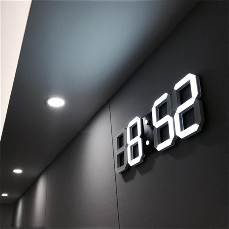 [해외]3D LED 벽 시계 현대 디지털 알람 시계 홈 주방 사무실 테이블 책상 밤 벽시계 24 또는 12 시간 디스플레이 표시/3D LED Wall Clock Modern Digital Alarm Clocks Display Home Kitchen Office Tabl