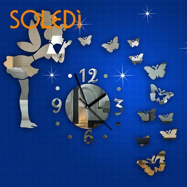 [해외]시계 29Pcs 3D 천사 DIY 거울 효과 벽 스티커 배경 이동할 수있는 장식/Clock 29Pcs 3D Angel DIY Mirror Effect Wall Sticker Backdrop Decor Removable