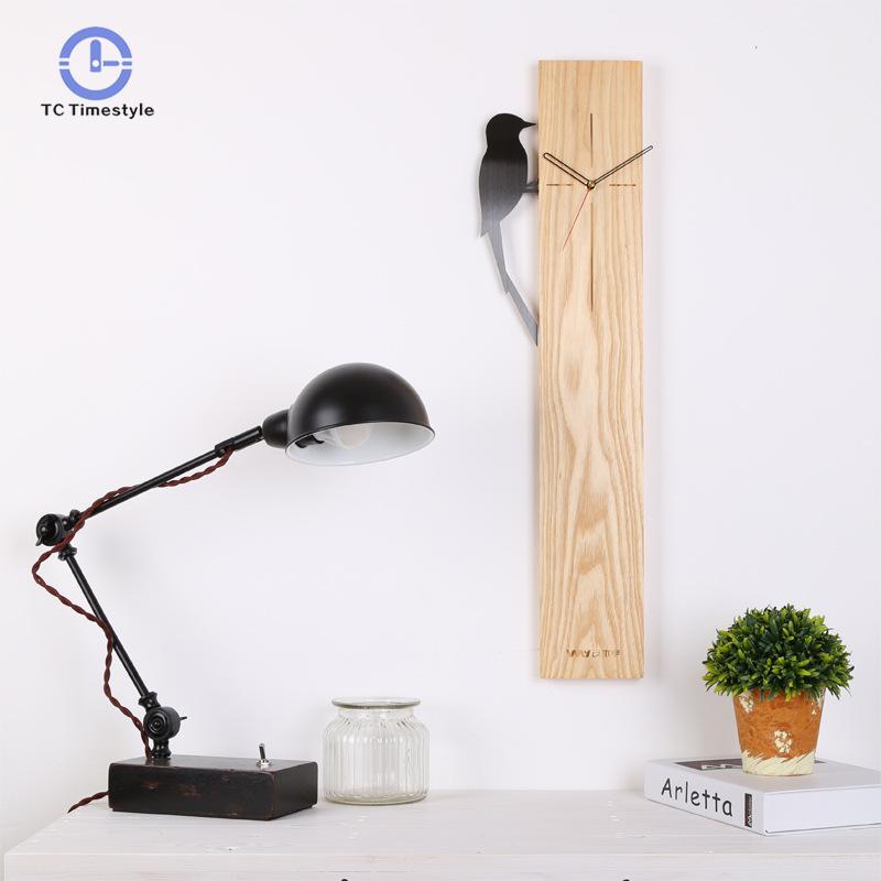 [해외]패션 크리 에이 티브 우드 홀 벽시계 거실 직사각형 현대 미니멀 뮤트 벽시계 현대적인 디자인/Fashion Creative Wood Hall Wall Clock Living Room Rectangular Modern Minimalist Mute Wall Cloc