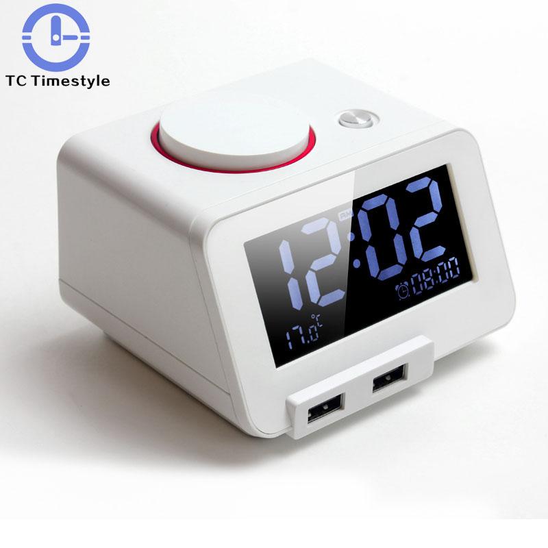 [해외]패션 단순한 다기능 전자 알람 시계 LED 뮤트 나이트 라이트 잠자는 테이프 온도계 침대 머리 특대 벨소리/Fashion Simple Multifunction Electronic Alarm Clock LED Mute Night Light Sleeping Tape