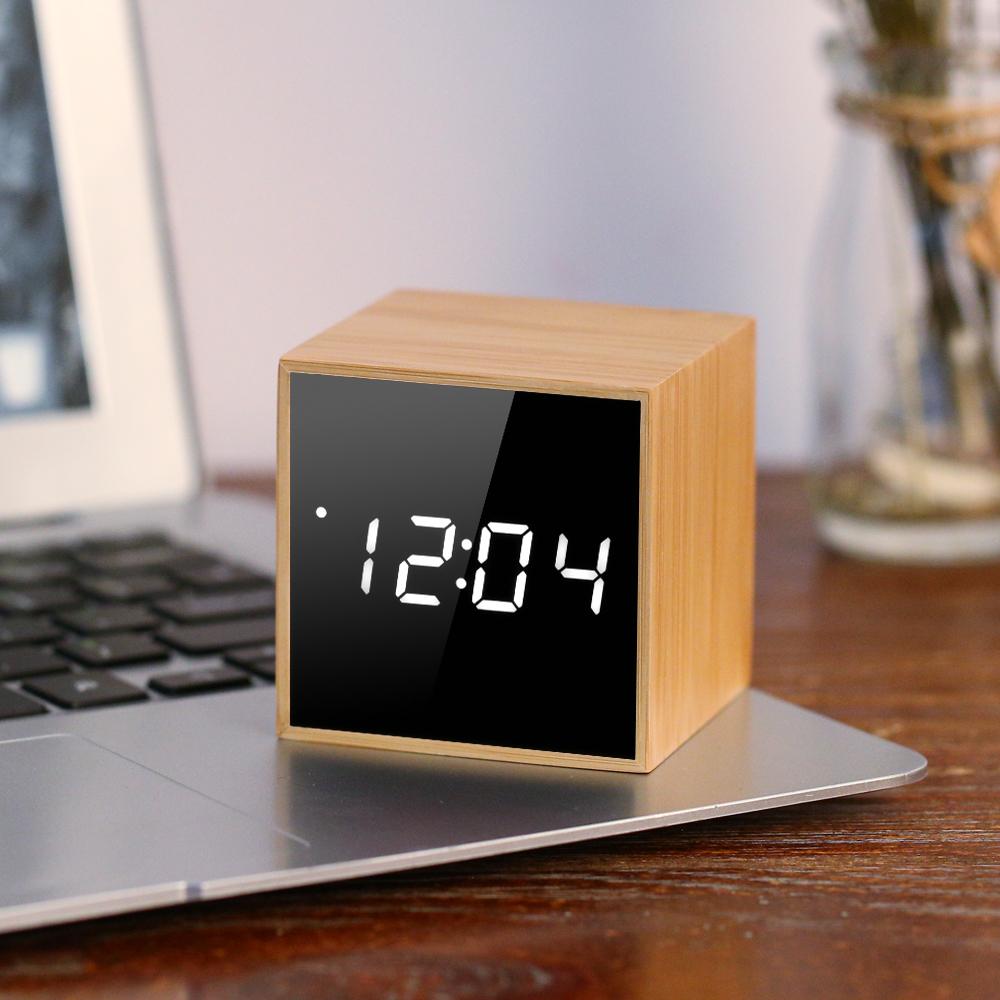 [해외]미니 LED 디지털 알람 시계 목조 음성 제어 시계 5V 가변 광도 큐브 알람 시계 날짜 시간 온도 표시/Mini LED Digital Alarm Clock Wooden Voice Control Clock 5V Adjustable Luminance Cube Al