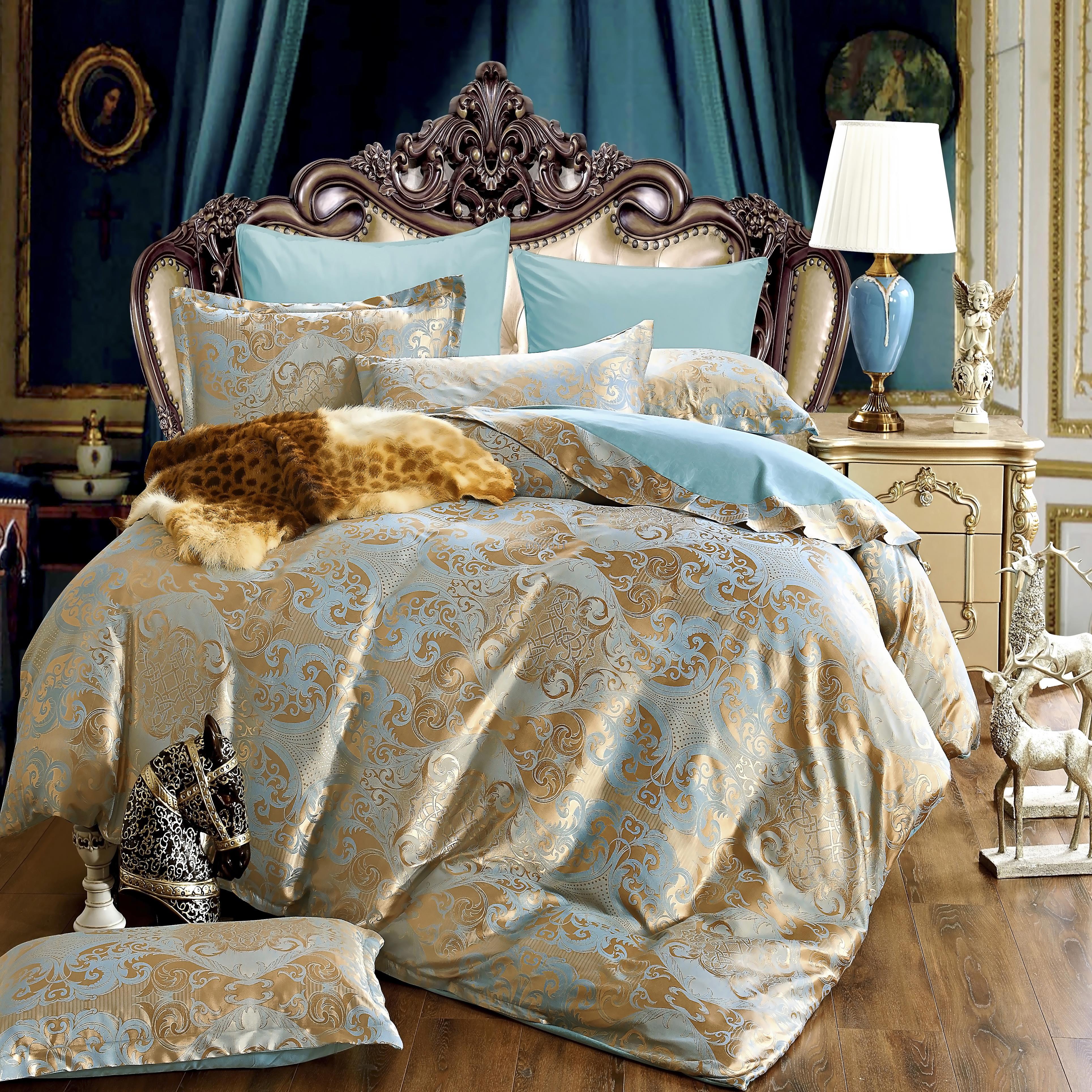 [해외]KELUO 럭셔리 공물 실크 새틴 자카드 이불 침구 세트 고귀한 궁전 침대 세트 4pcs 퀸 AL543/KELUO Luxury Tribute Silk Satin Jacquard Bedclothes  Bedding set Wedding Noble Palace Be