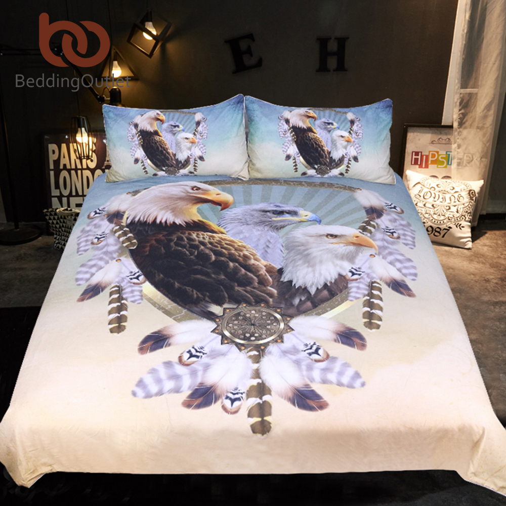 [해외]침구 제복 이글스 침구 세트 퀸 사이즈 깃털 드림 캐처 이불 커버 3D 프린트 침구 3pcs 동물성 침대 커버/BeddingOutlet Three Eagles Bedding Set Queen Size Feathers Dreamcatcher Duvet Cover
