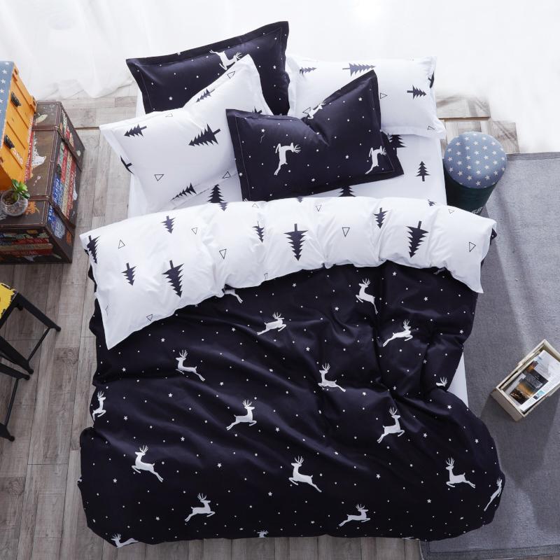 [해외]뜨거운 디자인 침구 세트 눈송이 엘크 블랙 소나무 사슴 이불 커버 플랫 시트 베개 커버 이불 커버 침대 세트 전체 여왕/Hot Design Bedding Set Snowflake Elk Black Pine Deer Duvet Cover Flat Sheet Pil