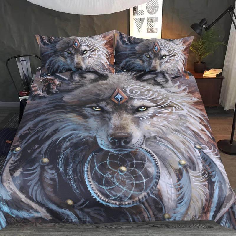 [해외]3D 늑대 이불 침구 세트 이불 커버 인도 깃털 Dreamcatcher 인쇄 침대 세트 3pcs 침구 여왕 킹 사이즈 침대 시트/3D Wolf Comforter Bedding Set Duvet Cover Indian Feather Dreamcatcher Prin