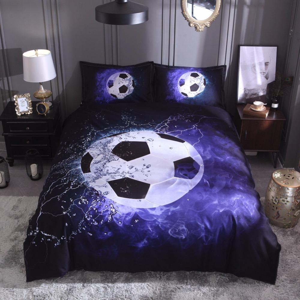 [해외]3D 축구 깃털 이불 커버 + 베개 커버 (시트 없음) 농구 3D 침대 시트 세트 블루 블랙 침구 세트 홈 200 * 200 영국 siz 이불/3D football duvet cover +pillowcase (no sheet) basketball 3D bed l