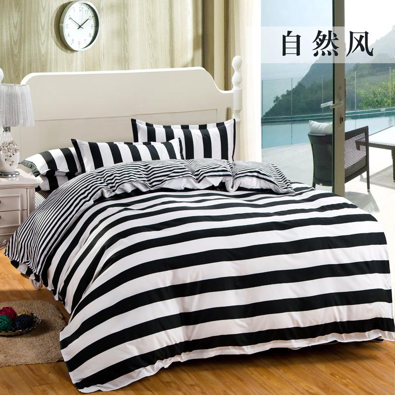 [해외]고품질 블랙 & amp; 흰색 스트라이프 체크 무늬 침구 세트 코튼 1 침대 시트 +1 이불 커버 + 2 베개 커버 dekbedovertre 침대 커버/High-quality Black& white striped Plaid  Bedding set