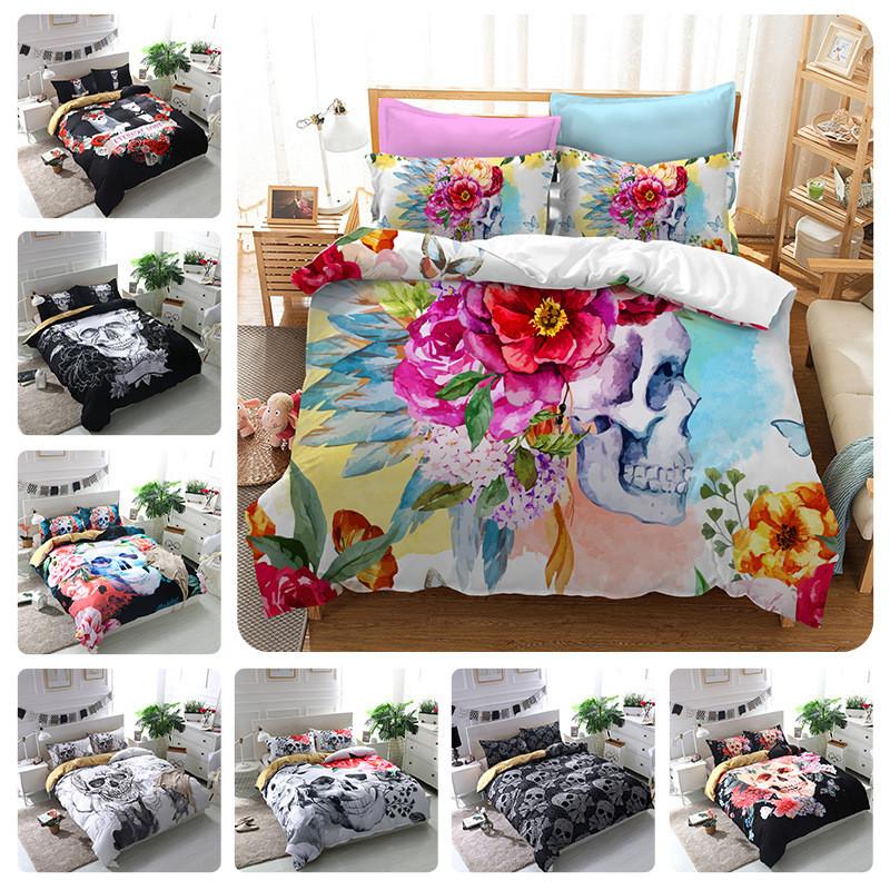 [해외]노르딕 로즈 해골 킹 베드 린넨 세트 커플 샴푸 침대 콘센트 3pcs 이불 이불 커버 세트 침대와 침구 세트 결혼 선물/Nordic Rose Skull King Bed Linen Set Couples Shams Bed Outlet 3pcs Comforter Du