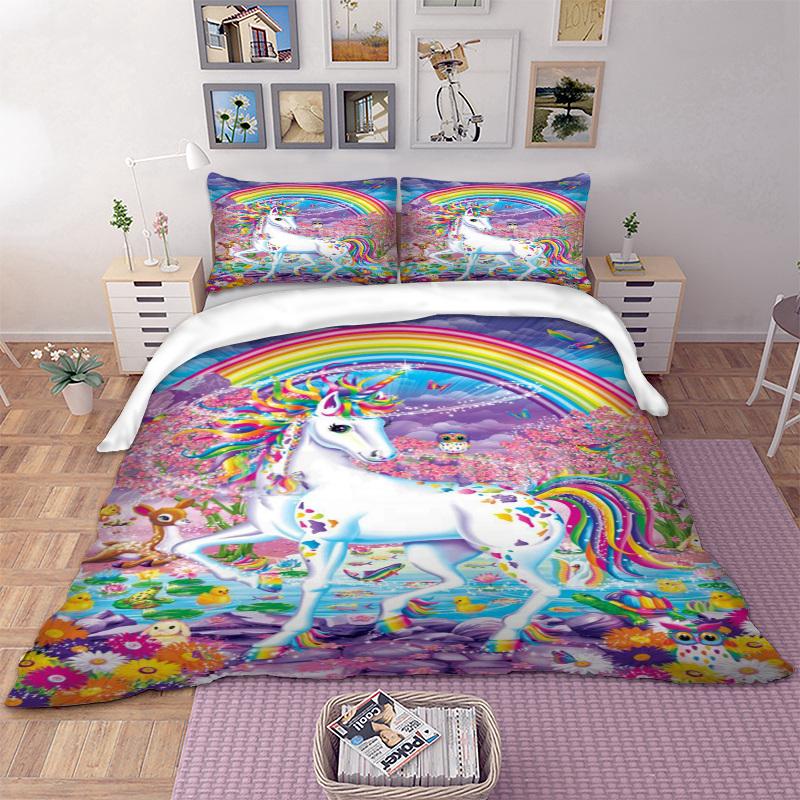 [해외]3D 꽃 유니콘 침구 세트 레인보우 이불 커버 베개 케이스 트윈 전체 퀸 킹 AU 싱글 영국 더블 사이즈 3D 침구 어린이/3D Floral Unicorn Bedding Set Rainbow Duvet Cover Pillow Cases Twin Full Quee