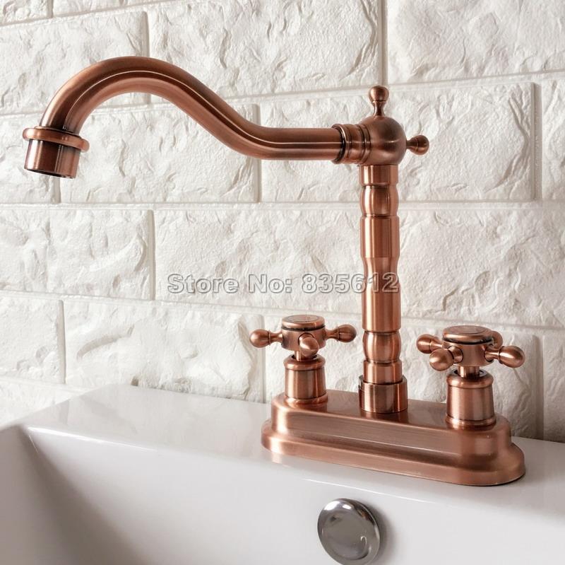 [해외]갑판 4 & Centerset 2 홀 앤티크 레드 구리 욕실 수도꼭지 씻어 분지 믹서 싱크 수도꼭지 회전 오르네 수도꼭지 Wrg044 마운트/Deck Mounted 4& Centerset 2-hole Antique Red Copper Bathroom Fa