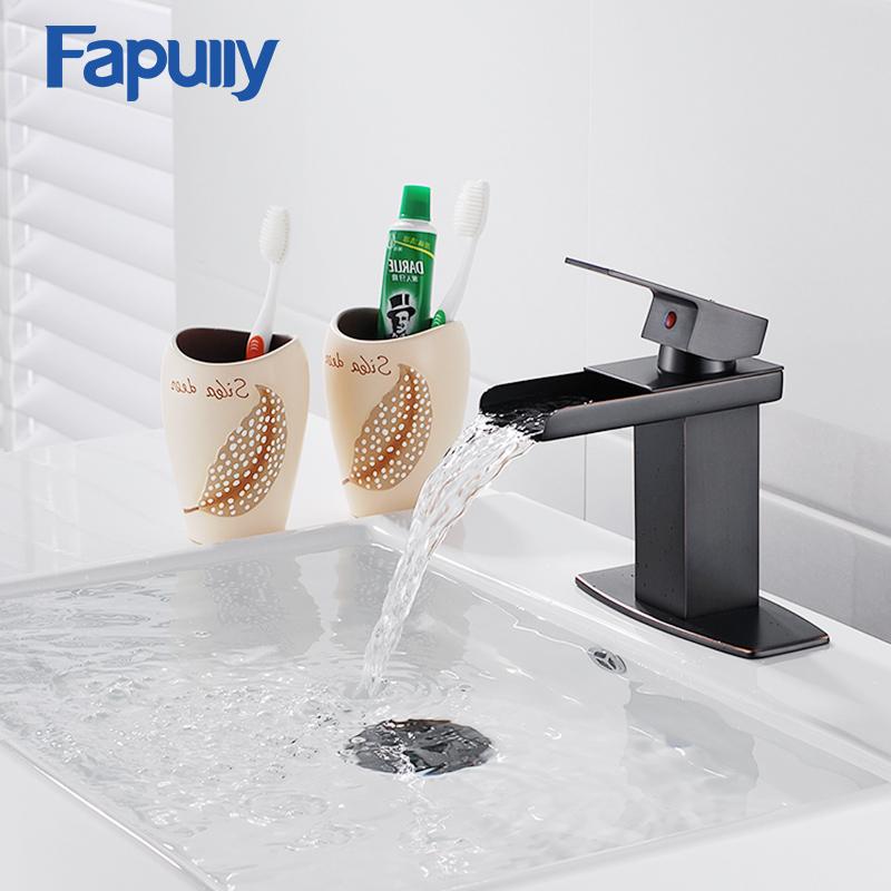 [해외]Fapully 블랙 분지의 수도꼭지 폭포의 수도꼭지 오일 문질러 청동 스퀘어 욕실 싱크 폭포 분지 믹서 Tap Torneira Cachoeir/Fapully Black Basin Faucets Waterfall Faucet Oil Rubbed Bronze Squ