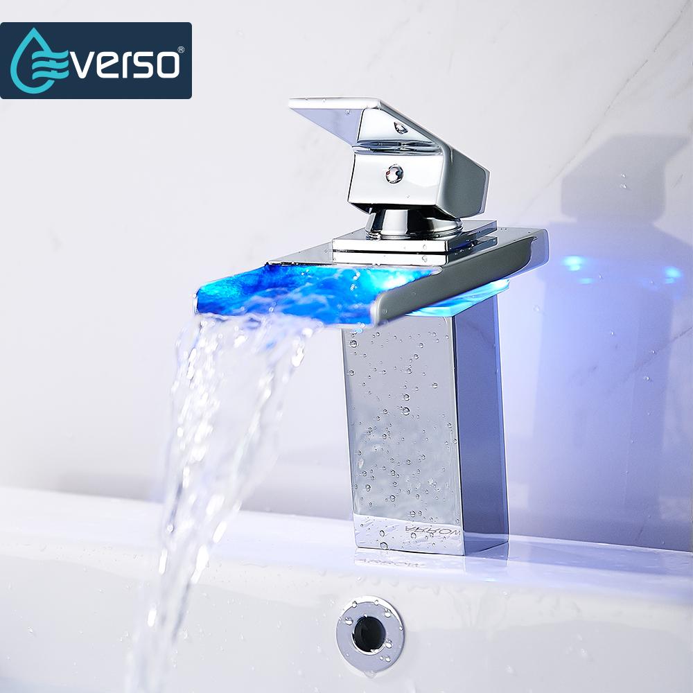 [해외]EVERSO 온도 센서 LED 수도꼭지 와이드 흐르는 물 분지의 수도꼭지 크롬 싱글 핸들 욕실 싱크 수도꼭지/EVERSO Temperature Sensor LED Faucet Wide Flowing Water Basin Faucet Chrome Single Ha