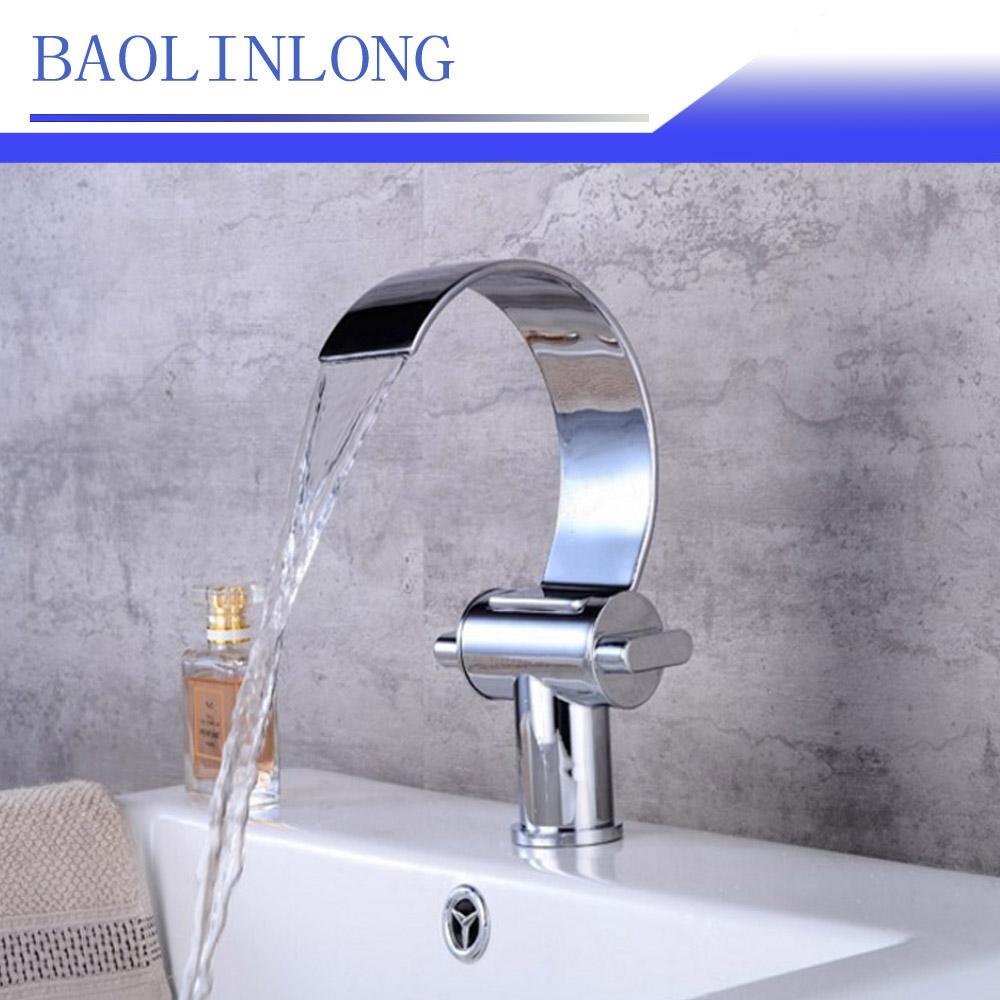 [해외]BAOLINLONG 새 스타일 황동 갑판 마운트 욕실 수도꼭지 허영 선박 싱크 믹서 폭포 수도꼭지 탭/BAOLINLONG New Style Brass Deck Mount Bathroom Faucets Vanity Vessel Sinks Mixer Waterfal