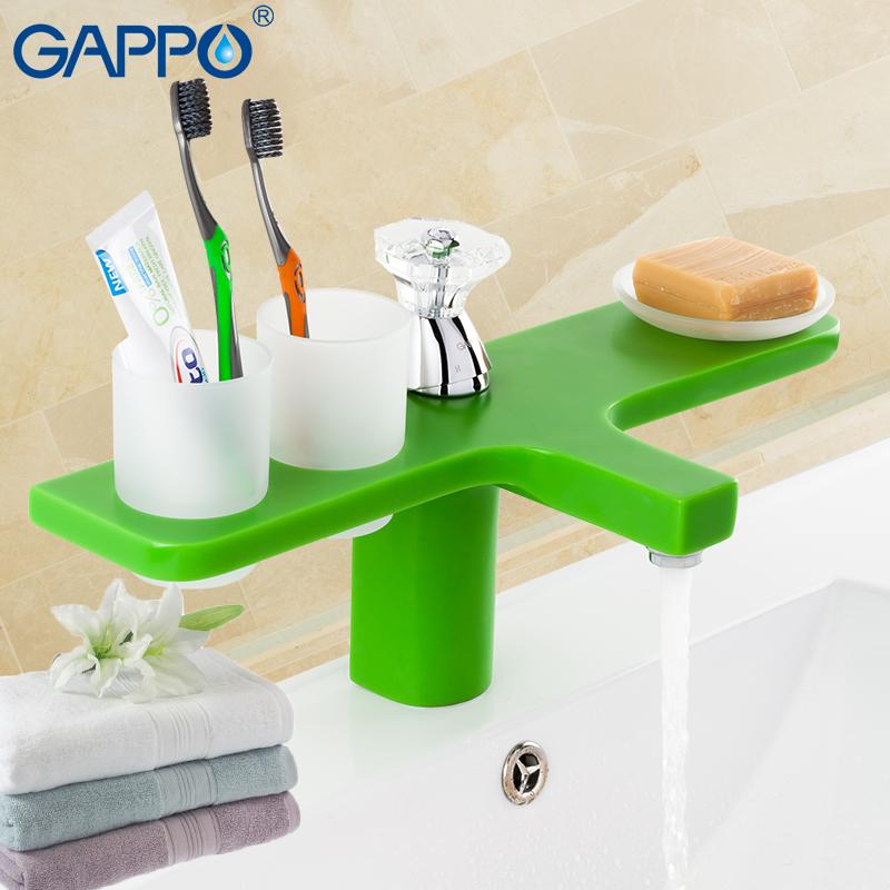 [해외]GAPPO 블루 분지의 수도꼭지 물 수도꼭지 분지의 물 싱크 믹서 폭포 수도꼭지의 갑판 마운트 욕실 믹서/GAPPO blue Basin faucet water faucet basin water sink mixer waterfall faucet deck mount