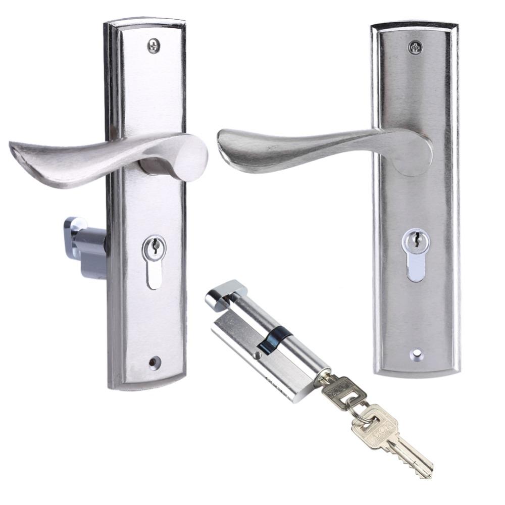 [해외]알루미늄 도어 잠금 내부 홈 핸들 잠금 내구성 프런트 후면 레버 래치 잠금 실린더 보안 키 액세서리/Aluminum Door Lock Interior Home Door Handle Lock Durable Front Back Lever Latch Lock Cyli