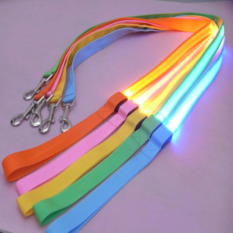 [해외]메쉬 애완 동물 견인 로프 120cm LED 개 목걸이 6 켤레/Mesh pet traction rope LED luminous dog leashes 120cm 6 colors