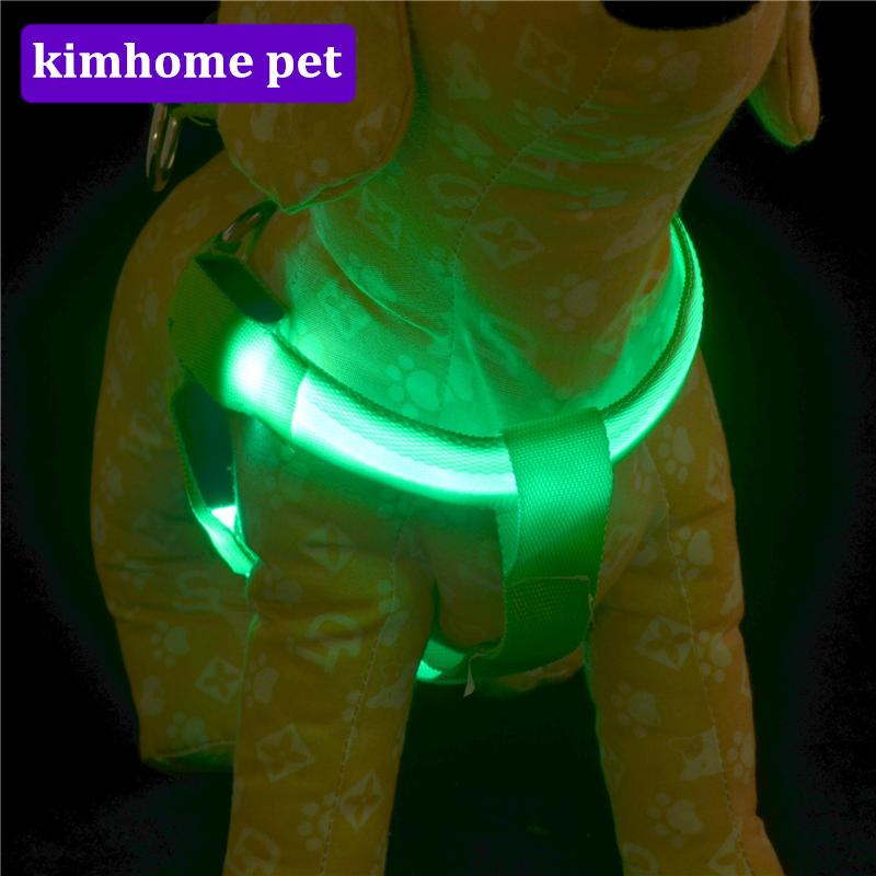 [해외]패션 Luminescence 개 하네스 조절 가능한 플래시 개 하네스 나일론 LED 빛나는 빛나는 칼라 Silkscreen 빛나는 조끼 HPG17/Fashion Luminescence Dogs Harness Adjustable Flash Dogs Harness