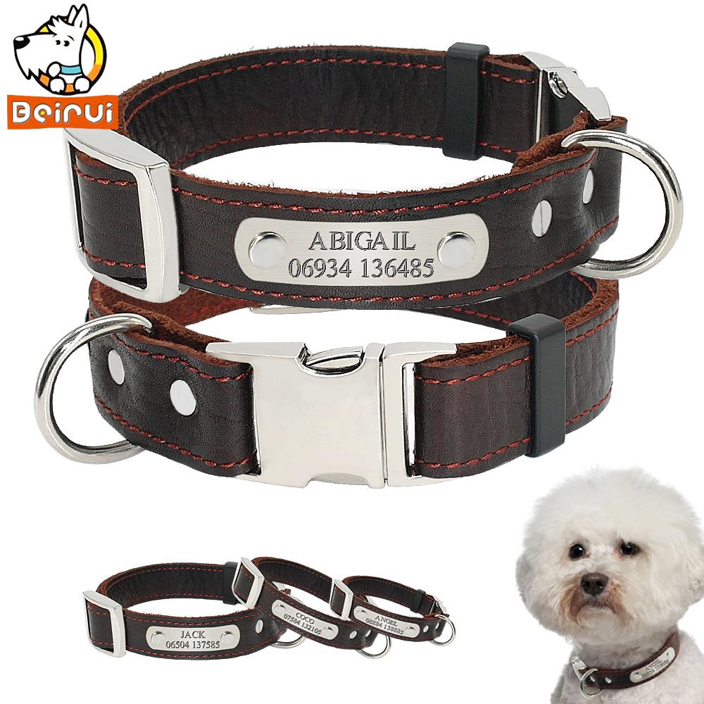 [해외]개인 맞춤 개 목걸이  가죽 조정 새겨진 ID 고리 작은 중형 대형 애완견을분실 방지/Personalized Customized Dog Collar Genuine Leather Adjustable Engraved ID Collars Anti Lost For Sm