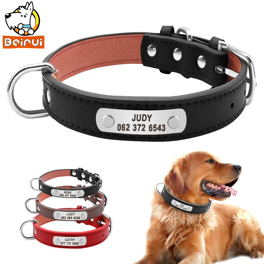 [해외]PU 가죽 개 목걸이 튼튼한 패딩 맞춤형 애완 동물 ID 목걸이 소형 중형 대형 개용 사용자 정의 고양이 붉은 갈색 갈색/PU Leather Dog Collar Durable Padded Personalized Pet ID Collars Customized fo