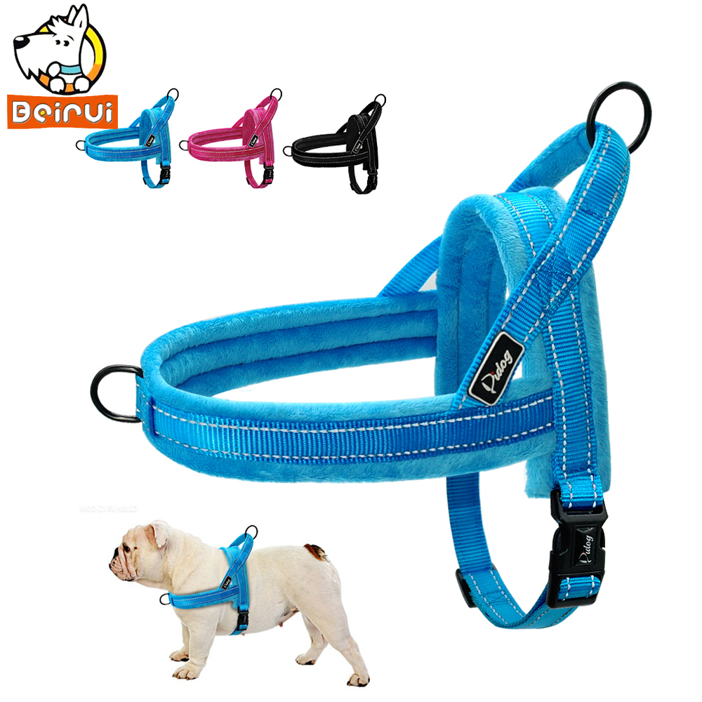 [해외]따뜻한 양털 없음 개 잡아 당김 걷기에 반사 단계 소형 중형 대형 개를애완 동물 거치대 Pitbulls 두꺼운 스타일/Warm Fleece No Pull Dog Harness Reflective Step In Walking Pet Harnesses for Sma