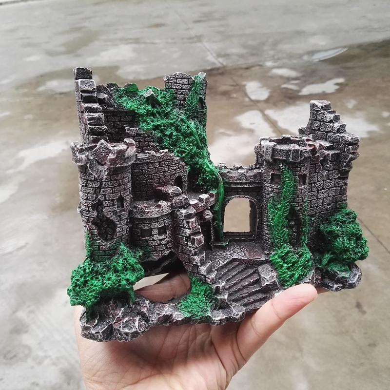 [해외]고품질 수지 고대 성 19 * 8 * 14cm 수조 수족관 장식 장식 대피 소/high quality resin ancient castle 19*8*14cm fish tank aquarium ornament decoration shelter
