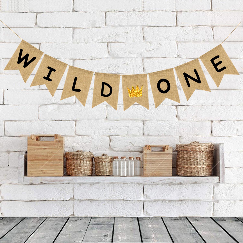 [해외]반짝이 골드 크라운 황마 삼베 야생 하나의 배너 아기 생일 파티 장식/Glitter Gold Crown Jute Burlap Wild One Banner Baby Birthday Party Decoration