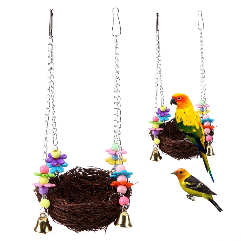 [해외]애완 동물 새 케이지 스윙 스탠드 앵무새 정지 교수형 바구니 바구니 새장 앵무새 앵무새 등반 씹는 물린 재미 ToyBells/Pet Bird Cage Swing Stand Parrot Rest Hanging Weave Basket Cages Cockatiel P