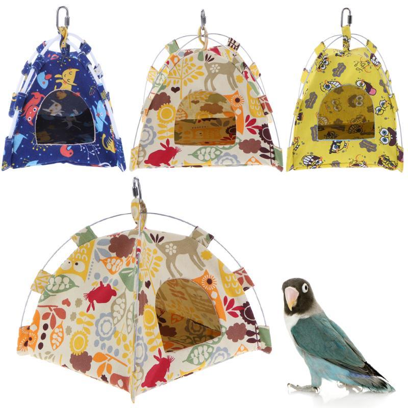 [해외]S / L 크기 만화 새 앵무새 텐트 하우스 캔버스 패브릭 버드 하우스 침대 동굴 햄스터 케이지 해먹 미니 동물 앵무새 애완 동물 용품/S/L Size Cartoon Bird Parrot Tent House Canvas Fabric Bird House Bed C