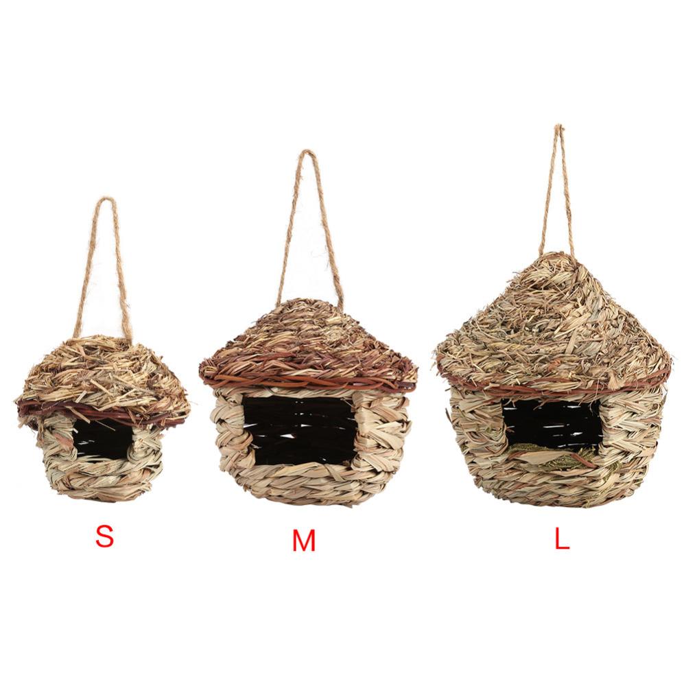 [해외]짚 버드 하우스 둥지 버드 하우스 앵무새 햄스터 작은 애완 동물 동물 케이지 홈 매달려 장식/Straw Bird House Nest Birdhouse for Parrot Hamster Small Pets Animals Cage Home Hanging Decor