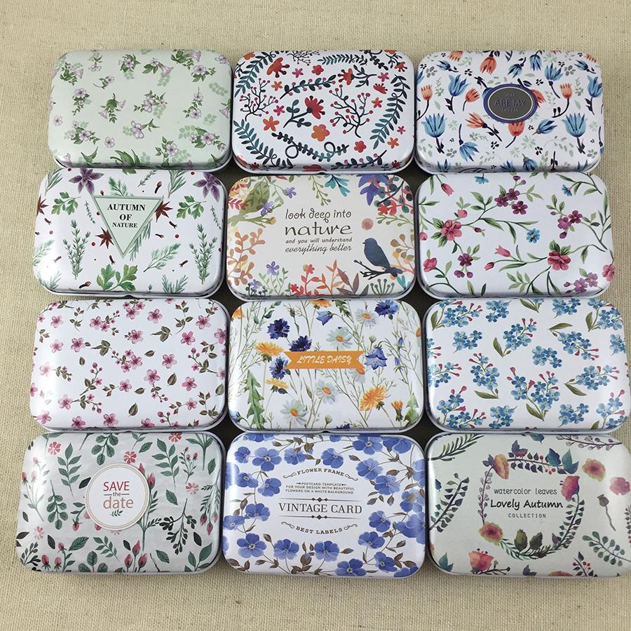 [해외]12pcs / lot 신선한 꽃 광장 모양 주석 스토리지 케이스 미니 환 약 상자 Lid Diy Jewerly 케이스 포켓 상자/12pcs/lot Fresh Flowers  Square Shape Tin Storage Case Mini Pill BoxLid Di