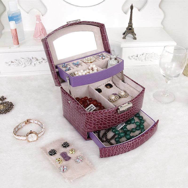 [해외]JULY & S SONG 보석 저장 상자 패션 더블 레이어 PU 가죽 귀걸이 쥬얼리 주최자 상자 표시 연인 친구를최고의 선물/JULY&S SONG Jewelry Storage Box Fashion Double Layer PU Leather Earring