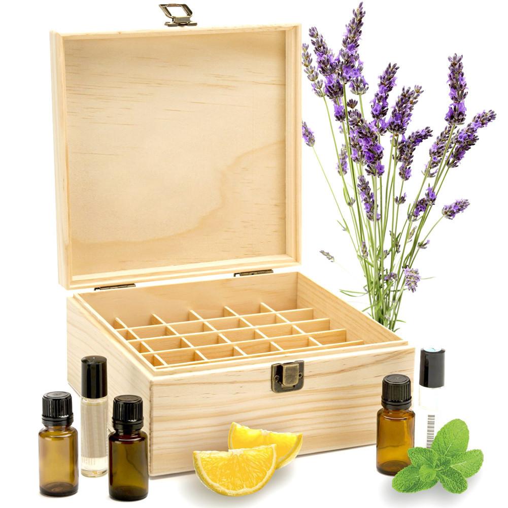 [해외]25 슬롯 나무 에센셜 오일 상자 단단한 나무 케이스 홀더 아로마 테라피 병 스토리지 주최자 18.6 * 18.6 * 18.5cm 소나무/25 Slots Wooden Essential Oils Box Solid Wood Case Holder Aromatherap
