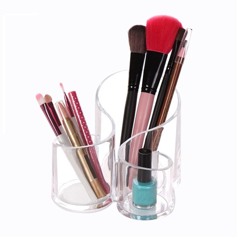 [해외]?3 격자 화장품 저장 상자 상자 가정용 메이크업 홀더 컨테이너 데스크탑 투명 주최자 액세서리/ 3 Lattices Cosmetic Storage Boxes Bins Household Makeup Holder Container Desktop Transparent