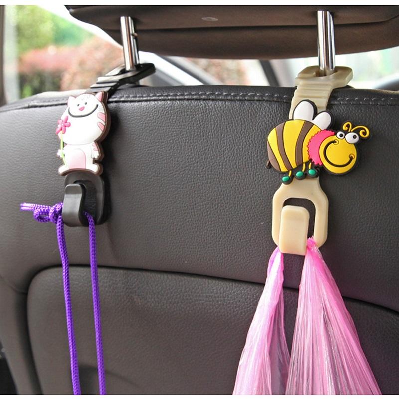[해외]2pcs 귀여운 만화 동물 자동 패스너 클립 자동차 좌석 후크화물 트렁크 가방 후크 홀더 자동차 좌석 후크 플라스틱 홀더 옷걸이 후크/2pcs Cute Cartoon Animals Auto Fastener Clip Car Seat Hook Cargo Trunk