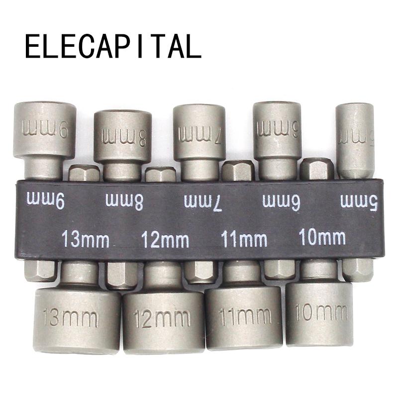 [해외]?9pcs / set 5mm-13mm 16 진수 소켓 슬리브 노즐 마그네틱 너트 드라이버 세트 드릴 비트 어댑터 16 진수 전동 공구/ 9pcs/set 5mm-13mm Hex Socket Sleeve Nozzles Magnetic Nut Driver Set Dr