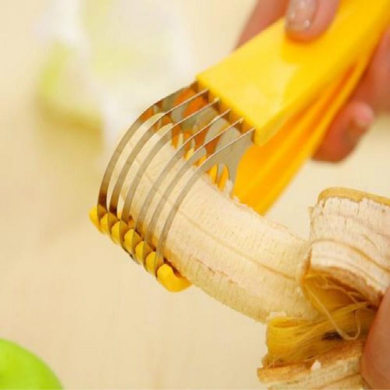 [해외]스테인레스 스틸 바나나 커터 과일 야채 소시지 슬라이서 샐러드 Sundaes 도구 요리 도구 주방 보조 장치/Stainless Steel Banana Cutter Fruit Vegetable Sausage Slicer Salad Sundaes Tools Cook