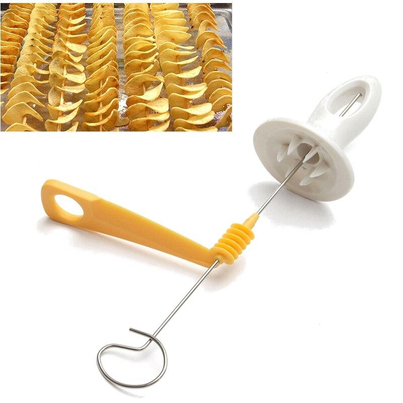 [해외]토네이도 감자 나선형 커터 슬라이서 나선형 감자 칩 4 침을 감자 타워 만들기 트위스트 슈레더 요리 도구 GI883537/Tornado Potato Spiral Cutter Slicer Spiral Potato Chips 4 spits Potato Tower M