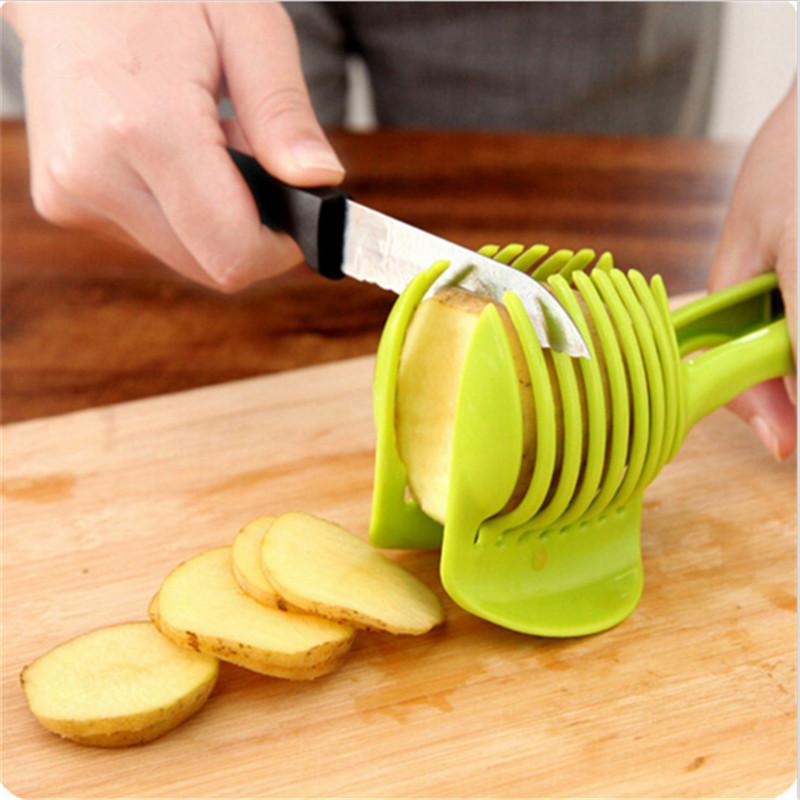 [해외]원피스 주방 요리 도구 양파 토마토 레몬 오렌지 과일 야채 슬라이서 절단 보조 가이드 홀더 슬라이딩 커터 가제트/One pcs Kitchen Cooking Tools Onion Tomato Lemon Orange Fruit Vegetable Slicer Cutt