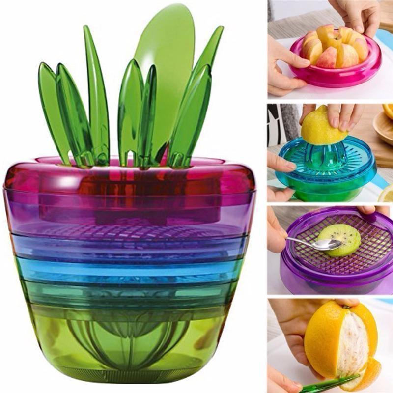 [해외]10pcs 크리 에이 티브 화분 디자인 멀티 주방 도구 애플 커터 아보카도 특종 과일 슬라이서 커터 필링 메쉬 레몬 압착기/10pcs Creative Flowerpot Design Multi Kitchen Tool Apple Cutter Avocado Scoop