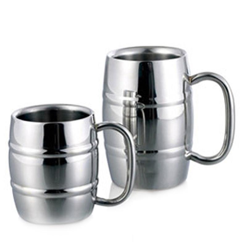 [해외]300 ml 500 ml 더블 벽 맥주 머그잔 배럴 모양의 커피 머그잔 스테인레스 스틸 보드카 티 커피 컵 캠핑 Drinkware/300ml 500ml Double Wall Beer Mugs Barrel Shape Coffee MugHandle Stainless