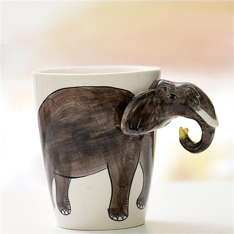 [해외]모리셔나 크리 에이 티브 3D 세라믹 커피 머그잔 만화 동물 손으로 그린 ??컵 코끼리 고릴라 사무실 Drinkware 독특한 선물/MORGIANA Creative 3D Ceramic Coffee Mug Cartoon Animal Hand-painted Cup