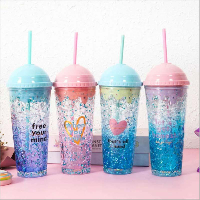 [해외]OWNPOWER 크리 에이 티브 컵 아이스크림 밀짚 찻잔 디자인 여름 마시는 물 병 쉐이커 플라스틱 drinkware 컵 2018 스포츠 선물/OWNPOWER Creative cup ice cream straw mug gel design summer drinki