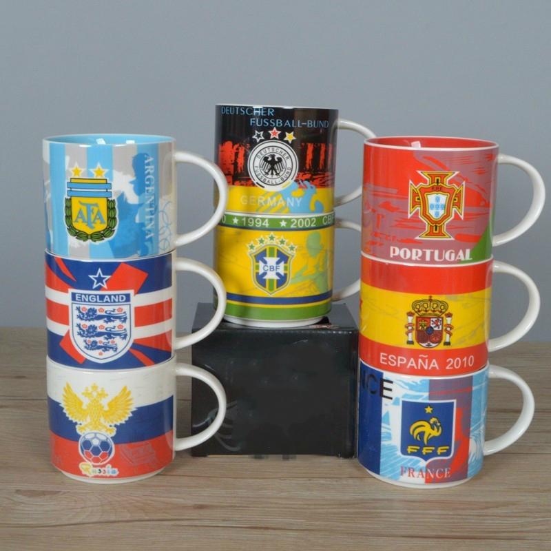[해외]뜨거운 2018 축구 팬 기념품 컬러 도자기 유약 커피 맥주 머그잔 세계 축구 컵 러시아 프랑스 영국 포르투갈 국가 팀/Hot 2018 Football Fans Souvenir Colored Ceramic Glaze Coffee Beer Mug World Soc