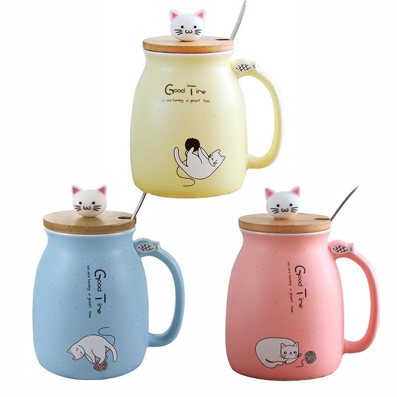 [해외]크리 에이 티브 참깨 고양이 내열성 컵 만화책 450ml 컵 고양이 우유 커피 세라믹 머그잔 어린이 컵 사무실 선물/Creative sesame cat heat-resistant cup color cartoonlid 450ml cup kitten milk cof